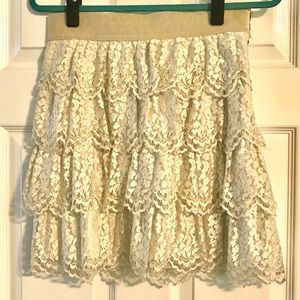 Ann Taylor Tiered Lace Mini Skirt